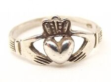 Vtg Sterling Silver Claddagh Ring Sz 6 Irish Celtic Hands Heart Irish