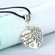 Fashion Leather Cord Choker Charm Necklace Heart Mother Grandmother Pendant Gift