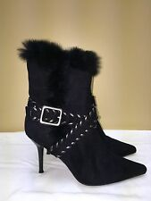 Wild Rose  faux Fur black Boots size 7.5 zipper pre-owned