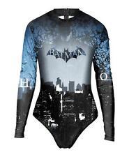 Women long sleeve Zipper Batman Printed high neck One Piece Swimsuit