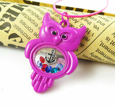 Living Float Charm Memory Rose-red Owl Locket Necklace+13pcs free charm F09