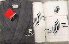 Pierre Cardin L/XL 4 pezzi Accappatoio Asciugamano Set Argento Grigio Bianco 100% COTONE