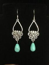 Earrings Long Turquoise Silver Hippie Bohemian Ethnic Boho Festival Tribal