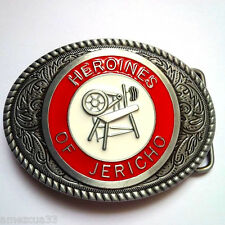 Heroines of Jericho red white and gray belt buckle