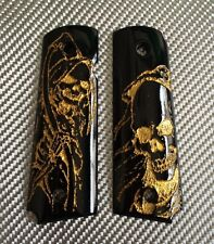 New gold Skull Punisher Art on black Resin grips for COLT KIMBER 1911 Full size