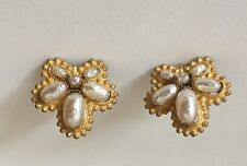 Vintage MIRIAM HASKELL Baroque Pearl EARRINGS clip on