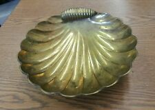 """Vintage Solid Brass Clam Shell Footed Trinket Soap Dish 7"""""""