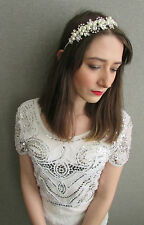 Ivory White Pearl Cluster Silver Headband Bridal Vintage 1920s 30s Headpiece Q83