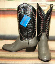 Panhandle Slim Gray Bull Shoulder Leather Cowboy Boots Mens 7.5 EE Womens 9 NEW