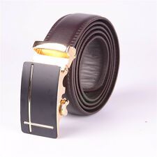 Men's business Genuine Leather Automatic Buckle brown Belts Belt Gold buckle