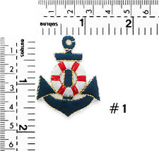 "#270IR Small Anchor Nautical Embroidered Sew Iron on Motif Patch Badge 1.70""Tall"