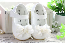New Baby Girls White Christening Shoes 3-6 Months