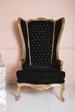 Gold Black Throne Chair Wedding Tub Armchair French Rococo French Hall Wingback