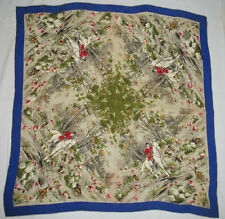 Vintage ENGLISH Hunt Scene SCARF Horses Hunting Dogs EQUESTRIAN Horse SCARF