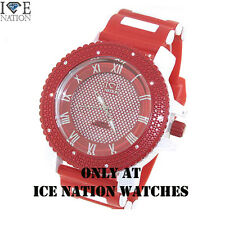 New Men's Iced Out Ice Nation Swiss Design Hip Hop Bullet Wrist Band Watch W1586