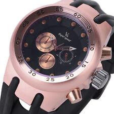 V6 Rose Gold Watch,Rubber Strap