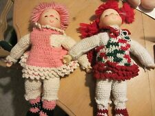 KNITTED DOLLS WITH PLASTIC HEAD AND HANDS - VINTAGE - FREE SHIPPING!!