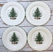 Nikko Happy Holidays Christmas Tree Pattern Round Dinner Plates Set of 4 Japan