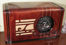 1937 Zenith  Big Black Dial Tube Woodcase Radio - Restored and playing loudly!