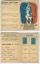 FFI-Maquis-Résistance - Francs-tireurs partisans français carte adhérent 1948