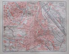 1890 WIEN alter Stadtplan Antique City Map Lithographie Österreich
