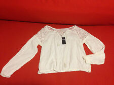 Hollister Women Peasant Top L Off White Floral Lace Textured Cotton Neck Tassels