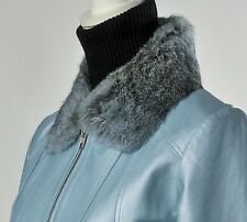 Leather Jacket Pearlized Baby Blue Rabbit Fur Collar by Wilsons Leather Medium