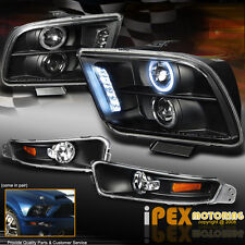 "2005-2009 Ford Mustang "" Black 4PCS"" Halo Projector LED Headlight + Signal Light"