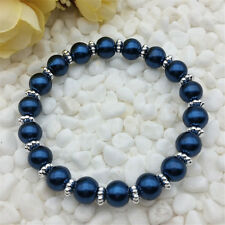 Wholesale fashion jewelry Cymbidium 8mm glass pearl stretch beaded bracelet DIY
