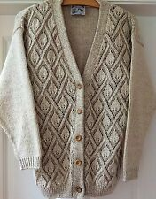 NEW VINTAGE COTTON-BLEND ECRU CARDIGAN SIZE 14/16 - made in England