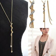 Women Lady Stylish Crystal Snake Pendant Long Chain Necklace Charm Jewelry Gift