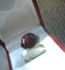 ISRAEL Stg Silver Modernist Abstract Tigers Eye Ring  ADJUSTABLE SIZE -  N and O