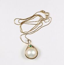 """Large Akoya Pearl & Round Faceted Emerald Pendant 14k Yellow Gold 18"""" chain"""