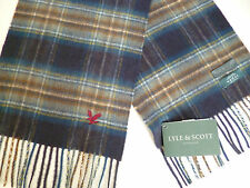 Lyle and & Scott cashmere wool scarf navy blue grey brown white mens womens NEW