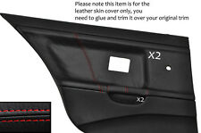 RED STITCH 2X REAR DOOR CARD LEATHER COVERS FITS BMW E36 SALOON SEDAN 91-98