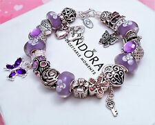 Authentic Pandora Silver Charm Bracelet with Heart Love Gift European charms.