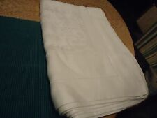 "Vtg Irish Linen Damask Tablecloth 8 Napkins White Florals Chrysanthemums 78""x60'"