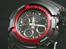 CASIO G-Shock AW591-4 AW-591-4 Black Red Analog Digital Free Ship