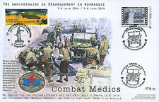 """Maxi FDC """"70 ans D-DAY / JEEP WILLYS - Infirmiers Medical Company / WWII"""" 2014"""