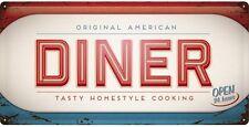 Original American Diner large embossed metal sign  500mm x 250mm   (na)