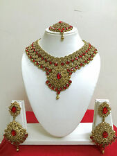 Bollywood Designer Indian Bridal Necklace Earring Gold Fashion Jewellery Set