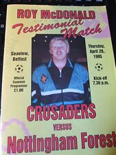 Crusaders v Notts Forest Signed Programme 1995 Roy McDonald Testimonial Match