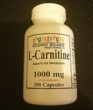 L-Carnitine Carnitine 1000mg 200 Capsules Fat Burn HIGH QUALITY FAST SHIPPING