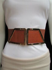 "WOMEN WAIST HIP MOCA BROWN ELASTIC FASHION BELT GOLD 80'S BUCKLE 25""-34"" XS S M"