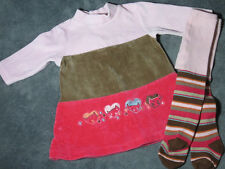 Infant Girls BOUTIQUE DEUX PAR DEUX Brown Pink VELOUR HEARTS DRESS TIGHTS 6 M