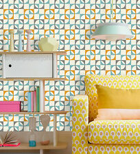 Retro design wallpaper in orange, charcoal and teal,  mottled white background