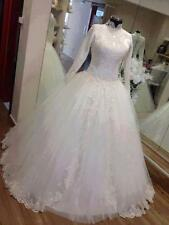 2016 Long Sleeve Beaded Muslim Wedding Dresses Appliques White Bridal Gown