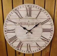 Shabby Chic French Rustic Round Wooden Wall Clock Cafe de la Tour Paris France