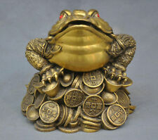 China Folk Frog Toad Ingot Lucky Auspicious Bronze Statue