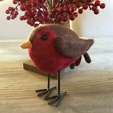 Felt Christmas Robin Red Breast Standing Decoration Vintage Chic Mantel Bird